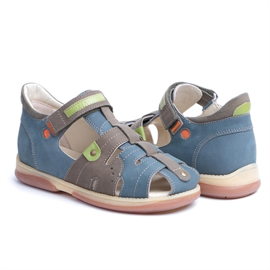 Picture of Memo  Palermo 1BE Navy Blue Boy Youth Orthopedic Velcro Sandal