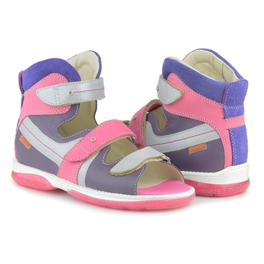 Picture of Memo Iris 3NA Violet-Pink Girl Youth Orthopedic Velcro Sandal