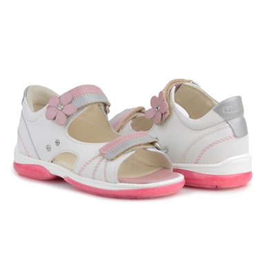 Picture of Memo Jaspis 3AB White Toddler Girl Orthopedic Velcro Sandal