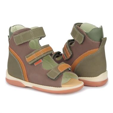 Picture of Memo Virtus 1BE Brown-Green Toddler Boy Orthopedic Velcro Sandal